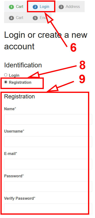 Fill in the proposed registration form. Fields with asterisks are required